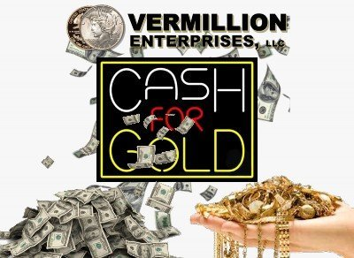 Looking For A Cash For Gold Dealer Near Me? Vermillion Enterprises is YOUR Cash For Gold Near Me Location Serving areas throughout Florida - Brooksville, Clearwater, Crystal River, Dade City, Daytona Beach, Floral City, Gainesville, Homosassa, Holiday, Hudson, Inverness, Jacksonville, Kissimmee, Longwood, Lecanto, Lutz, Land O Lakes, Miami, New Port Richey, Ocala, Odessa, Spring Hill, Palm Harbor, Tampa, Tarpon Springs, Wesley Chapel, Zephyrhills. We PAY TOP DOLLAR for your Gold, Silver, Platinum - Bullion, Coins, Jewelry, Collectibles. Call Or Stop By Today! Get Cash For Gold Today!